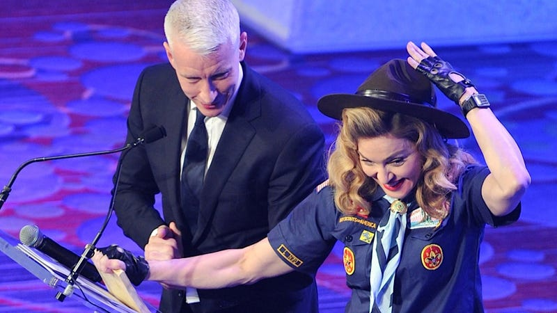 Scoutmaster Madonna Gave Anderson Cooper His Silver Fox Merit Badge Last Night