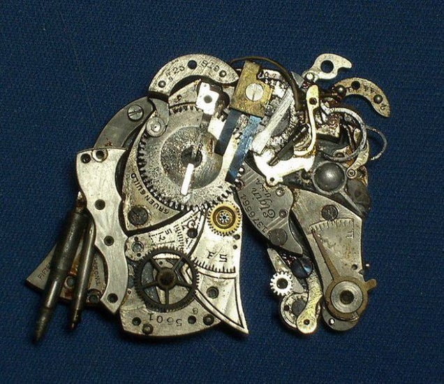 Enjoy These Clever Miniature Sculptures Made From Old Clock Parts