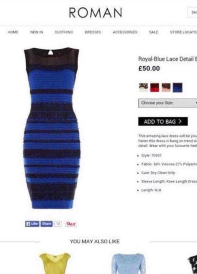 Case solved: This is the true color of that goddamn white and gold dress