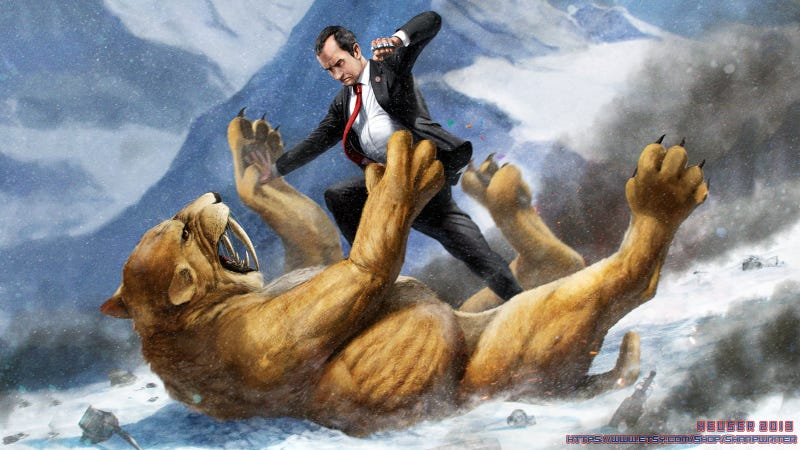 Richard Nixon wields presidential knuckles against a saber-toothed cat