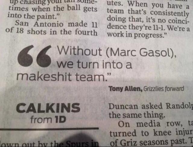 Marc Gasol Keeps The Grizzlies Regular