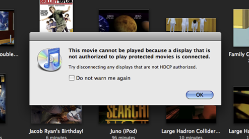 iTunes HD Movies Won't Play on Older Non-HDCP Monitors
