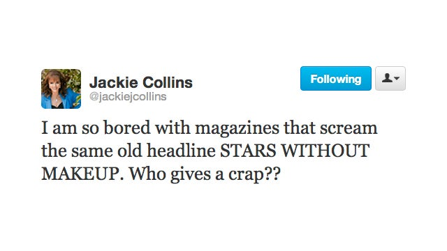 Glamazon Jackie Collins Does Not Give a Shit About Stars Without Makeup