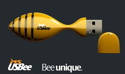 USBee Flash Drive has Bendable Neck, Heat Ventilation, Vague Resemblance to a Bee