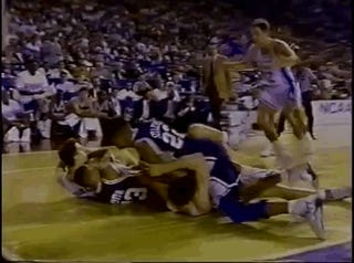 Old Video: Christian Laettner Gets His Head Slammed Into The Floor