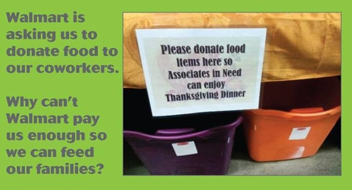 Walmart Asks Employees to Donate Food to Help Starving Coworkers