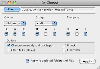 BatChmod Mass Edits Permissions in Mac OS X