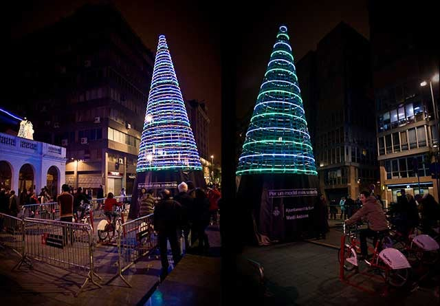 Christmas Tree Powered By Bikes, Supposedly
