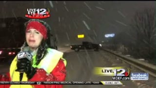 Live Report On Dangerous Driving Conditions Interrupted By Car Wreck