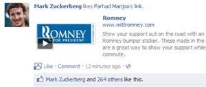 How Mark Zuckerberg Accidentally Endorsed Mitt Romney on Facebook