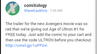 PSA: 5 minutes left to get Age of Ultron #1 free from Comixology