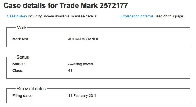 Julian Assange Has Trademarked His Name