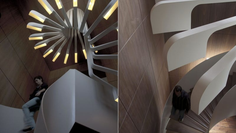 This Lovely Lighting Perfectly Complements a Spiral Staircase