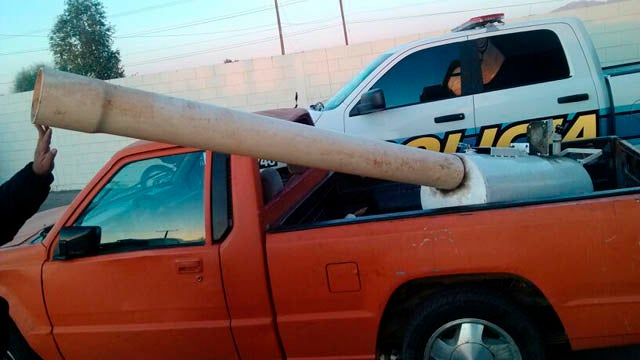 "Mexicali Police Deflate Smugglers' Compressed-Air ""Marijuana Cannon"""
