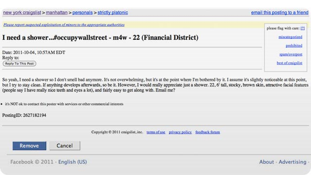If You Went to #OccupyWallStreet, Someone Might Be Looking to Bone You on Craigslist