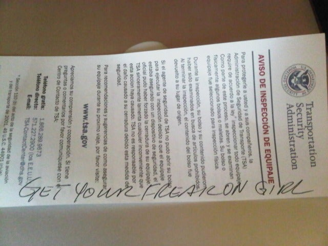 TSA Agent Leaves Nice Note in Passenger's Luggage