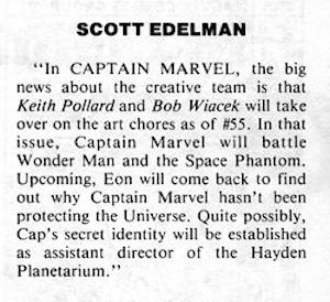In 1977, Captain Marvel was going to be assistant director of New York's Hayden Planetarium
