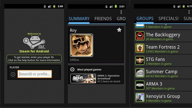 Unofficial Steam Client for Android Offers Everything But Gameplay