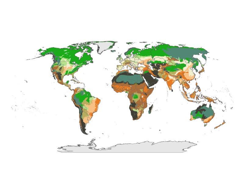 This map shows the regions of Earth most vulnerable to climate change