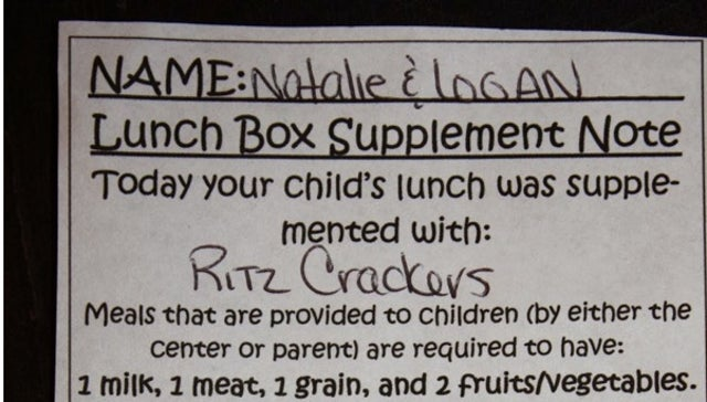 Mom Gives Kids Homemade Lunch, School Forces Them to Eat Ritz Crackers