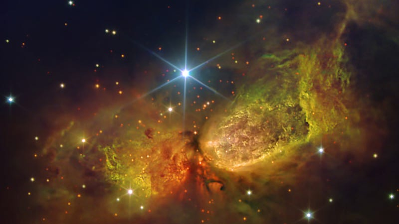 One of the galaxy's youngest stars surrounds itself with massive nebula