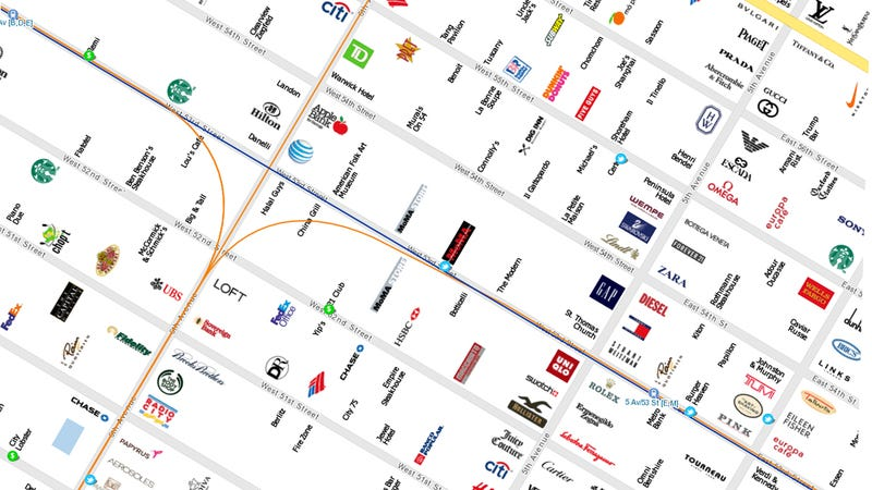 New York City Map Made of Brands Is Perfect for Tourists, Snobs