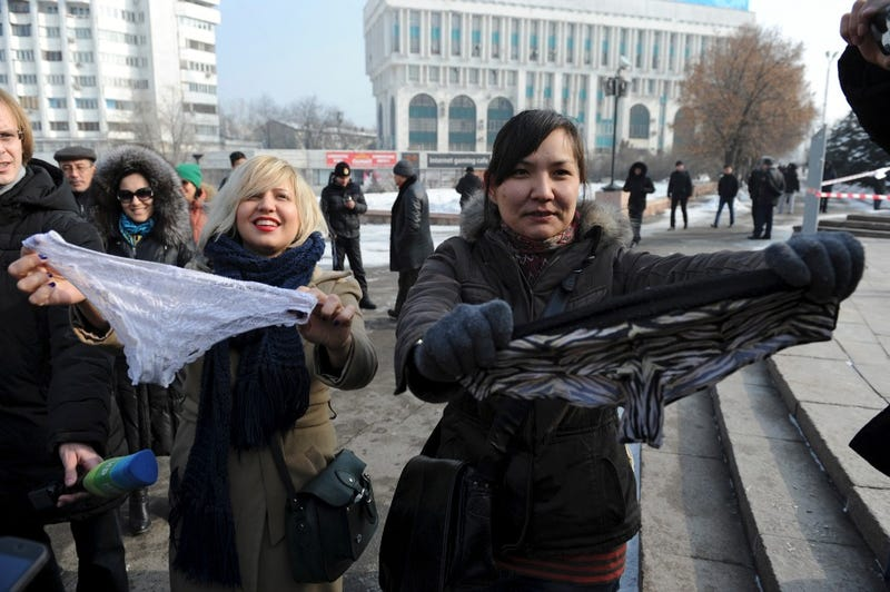Kazakh Women Protest Lace Underwear Ban