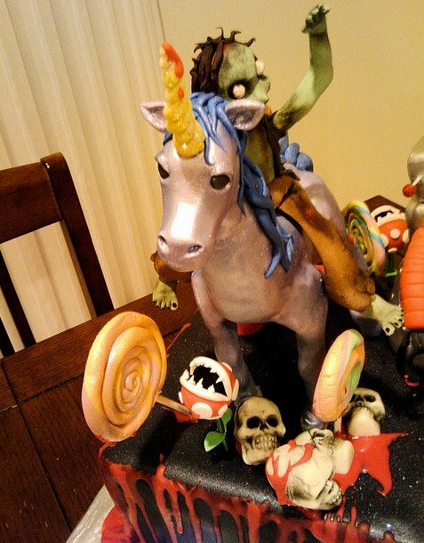 There is nothing better than the unicorn-riding rainbow zombie cake