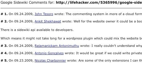 Read Google Sidewiki Comments Without Installing Google Toolbar