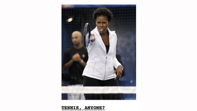 Look Out, Whites! Michelle Obama Wants to Kill You With a Tennis Racket.