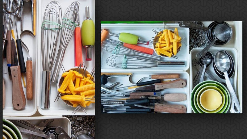 Wrap Whisks with Rubber Bands to Save Space and Avoid Bent Wires