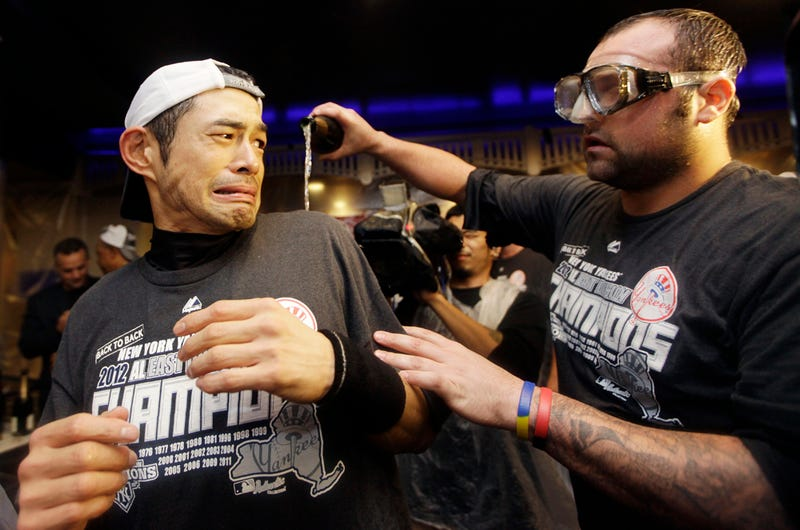Ichiro Doesn't Look Amused By Joba Chamberlain's Champagne Bath