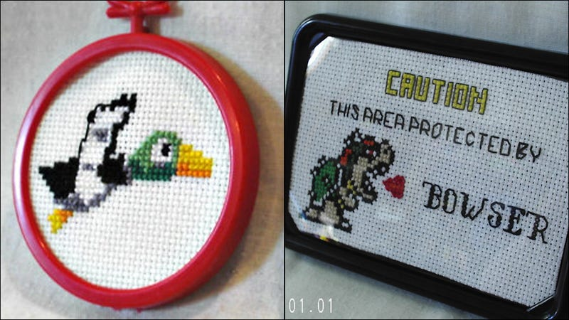 Geeky Cross-Stitch Is the Perfect Melding of Retro Game Art with Retro Crafting