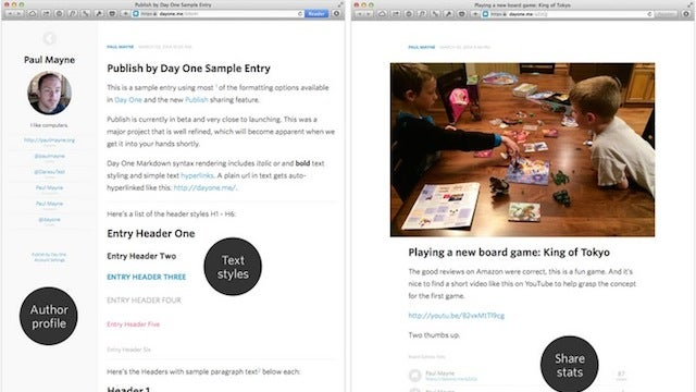 Day One Adds a Publish Function to Make Journal Entries Public