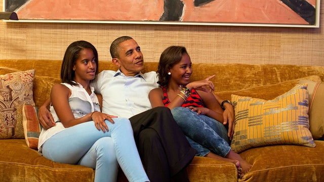 The White House Released a Photo of Barack Obama and His Daughters Watching Michelle Obama Kill It