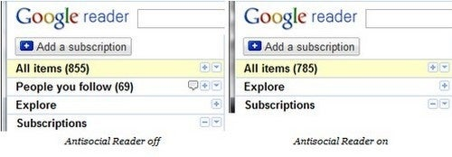 Disable Google Reader's Social Features