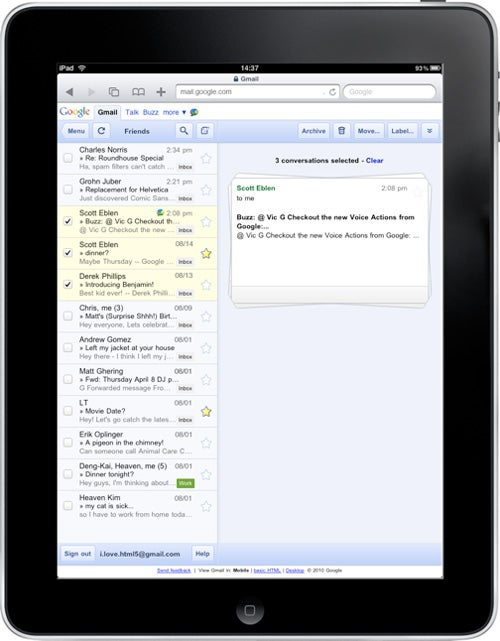 iPad Gmail Gets New Streamlined Interface