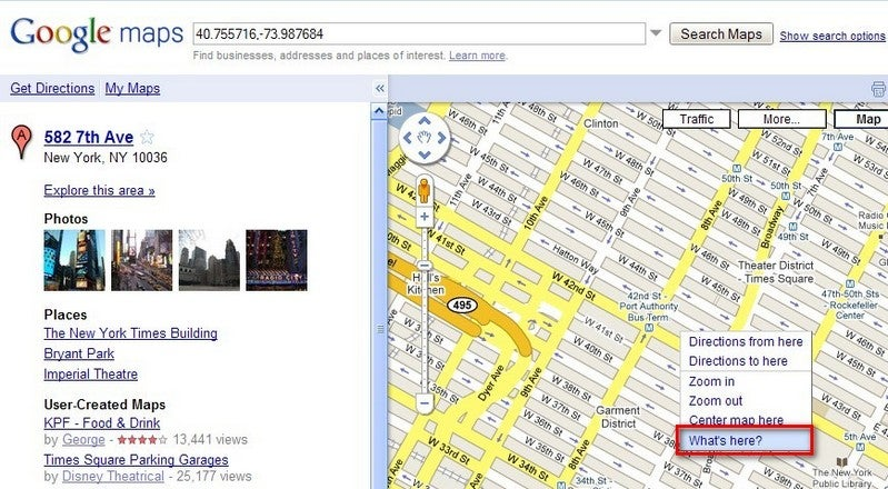 """Google Maps Adds Local Attractions with """"What's Here?"""" Link"""
