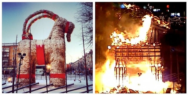 At Christmas, this town builds a Giant Yule goat and then torches it