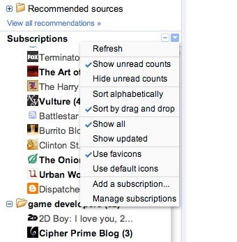 Google Reader Adds Favicon Support