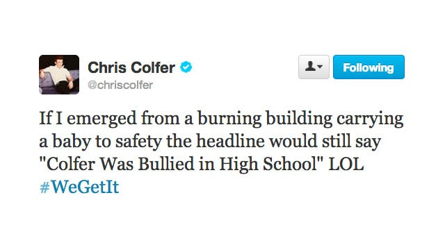 Chris Colfer Is Over Being Bullied and Would Like You to Be Over It, Too