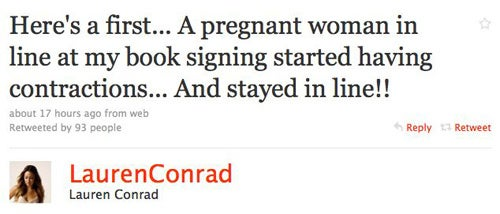 Woman Goes Into Labor At Lauren Conrad's Book Signing