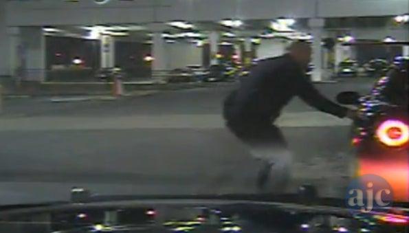 Corvette driver slams into cop car, gets away
