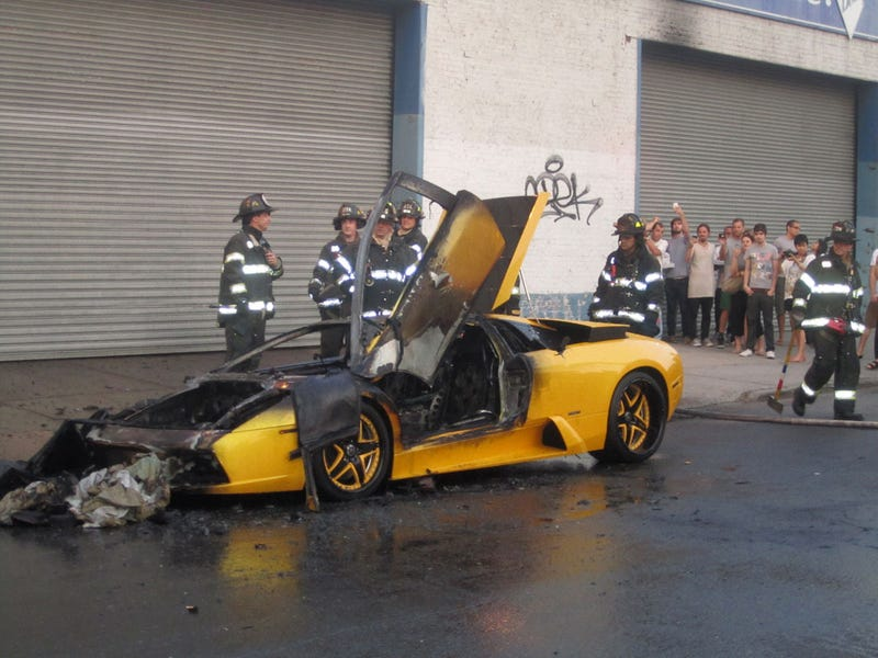 $350,000 Lamborghini Murcielago Explodes In Brooklyn