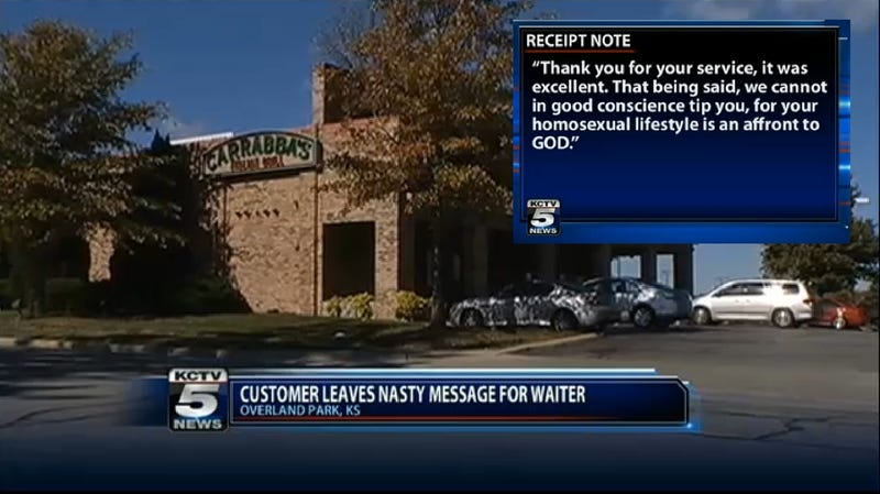 Customers Praise Server's Excellent Service, But Refuse to Tip a 'Fag'