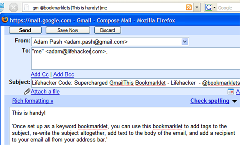 Lifehacker Code: Supercharged GmailThis Bookmarklet