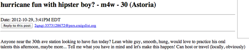 In Midst of Once-in-a-Generation Storm, Craigslist Rallies for Anonymous Sex