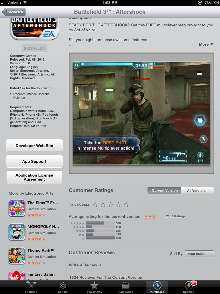 EA Yanks Busted Battlefield 3 Shooter from App Store
