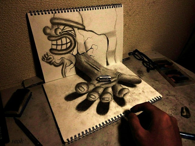 Beautiful Sketches That Turn into 3-D Illusions on the Page