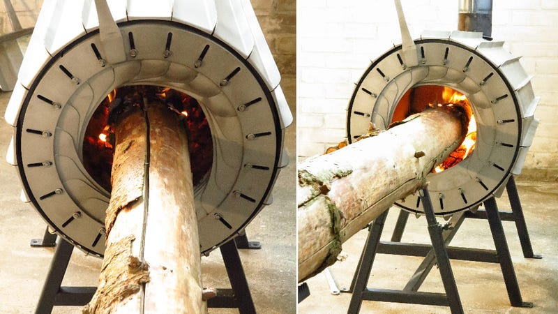 Who Needs an Axe When This Wood Stove Swallows Tree Trunks Whole?